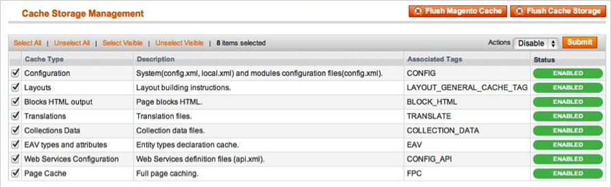 Installing Magento Extensions: Disable The Cache