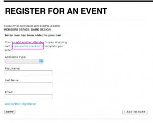 Checkout Registration For Events