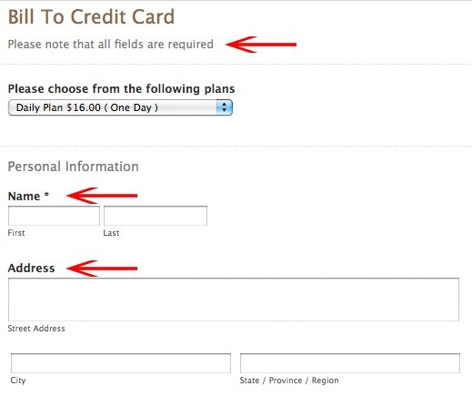Bill To Credit Card: Required Fields