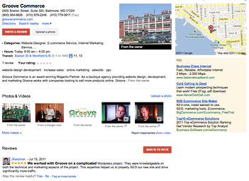 Local Search Listing: Example From Groove Commerce
