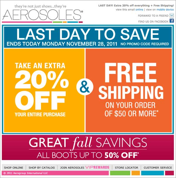 Holiday Email: Aerosoles Example