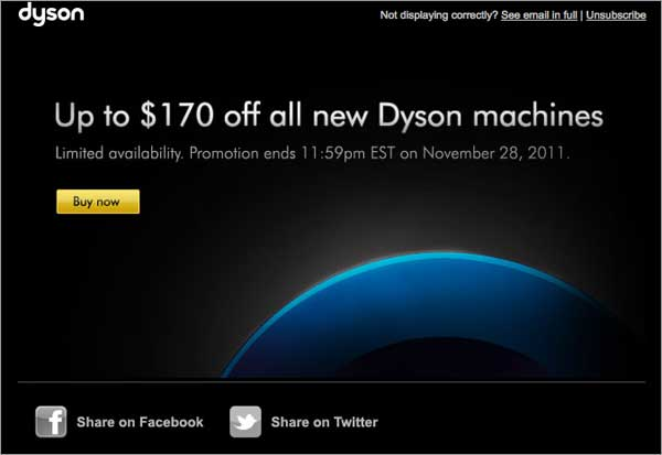 Holiday Email: Dyson Example