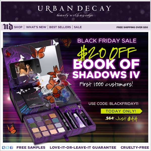 Holiday Email: Urban Decay Example