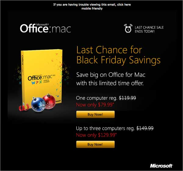 Holiday Email: Microsoft Office