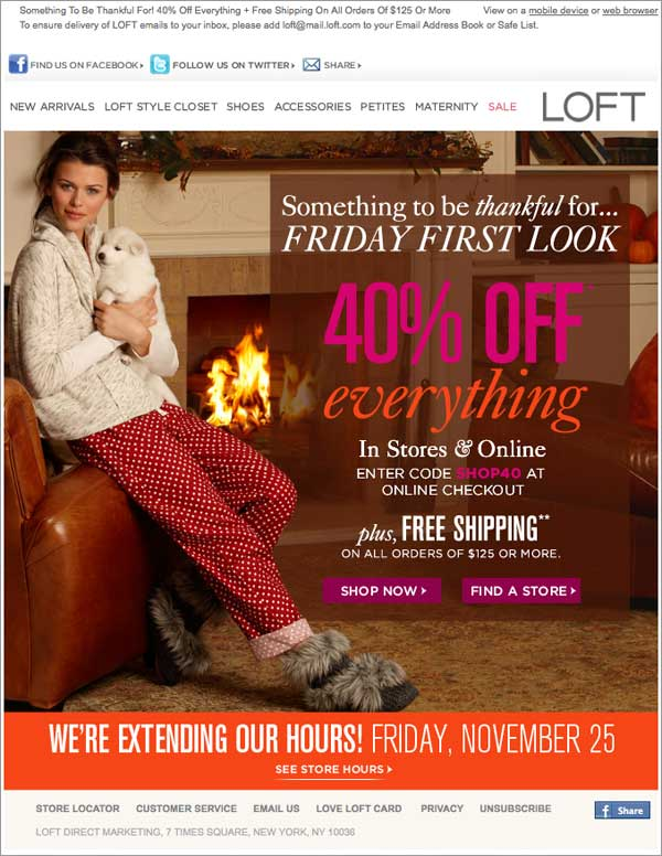 Holiday Email: Loft Example