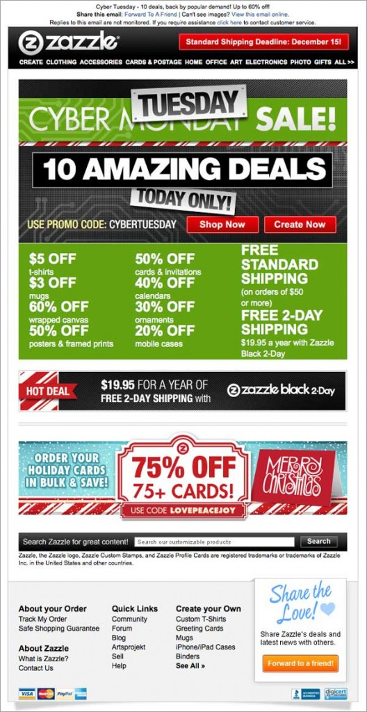 Holiday Email: Zazzle Example