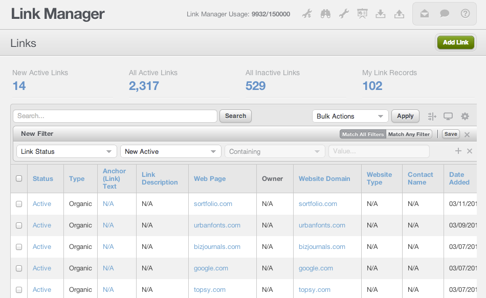 Raven Tools Link Manager