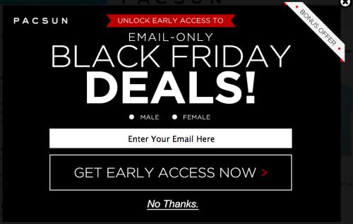 Pacsun Bounce Exchange eCommerce Sites example