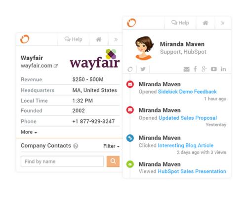 Sidekick by HubSpot feature Profiles in Inbox