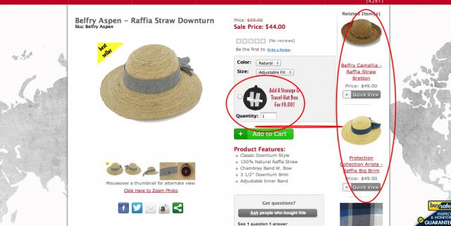 Hats in the Belfry ecommerce merchandising screenshot