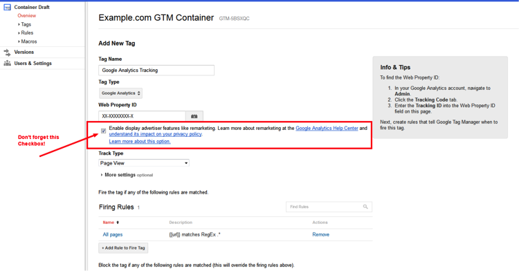 UA Google Tag Manager