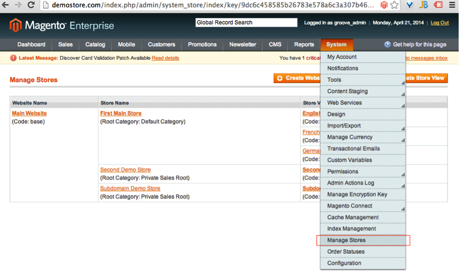 Creating New Store in Magento Admin 1