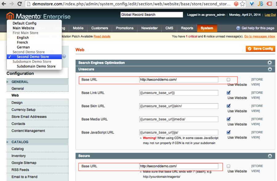 modifying URLs in Magento