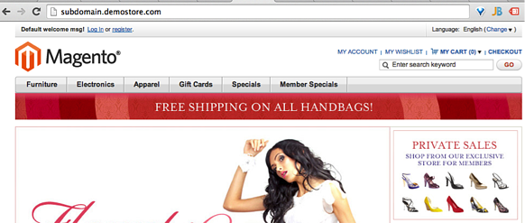 Front End of New Magento Store with Subdomain