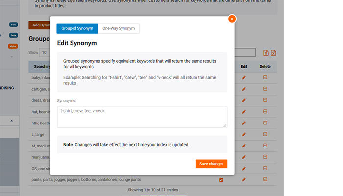 Optimize search create synonyms