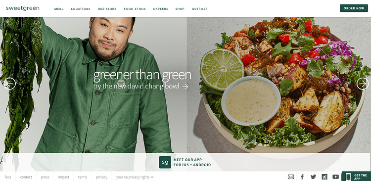 Above The Fold Website Design: The Full-Width Banner From Sweet Green