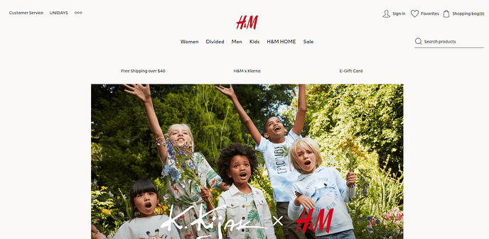 Above The Fold Website Design: H&M's Faux-Width Banner