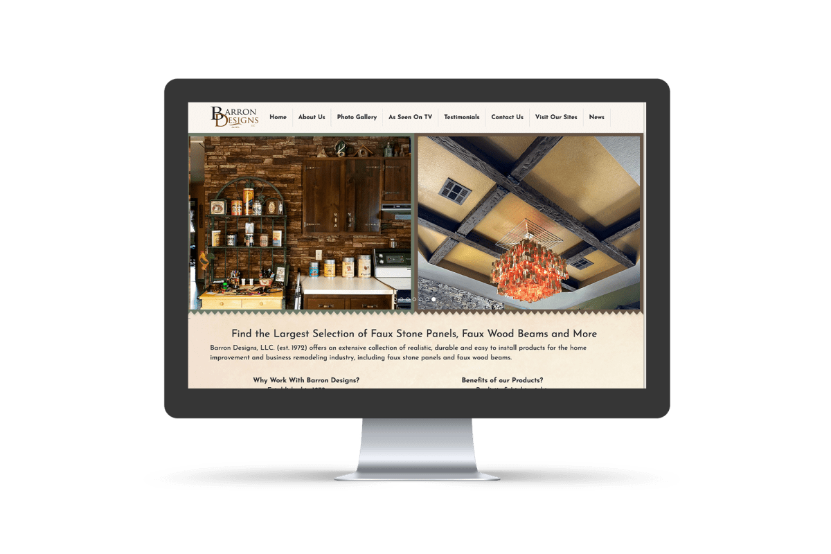 Barron Designs Website Before Working With Groove Commerce