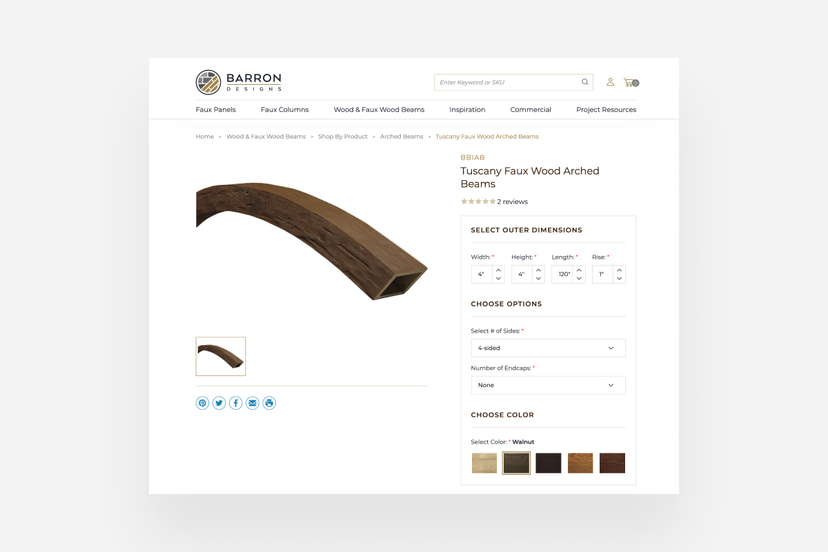 BigCommerce Website: Barron Design's Product Configurator