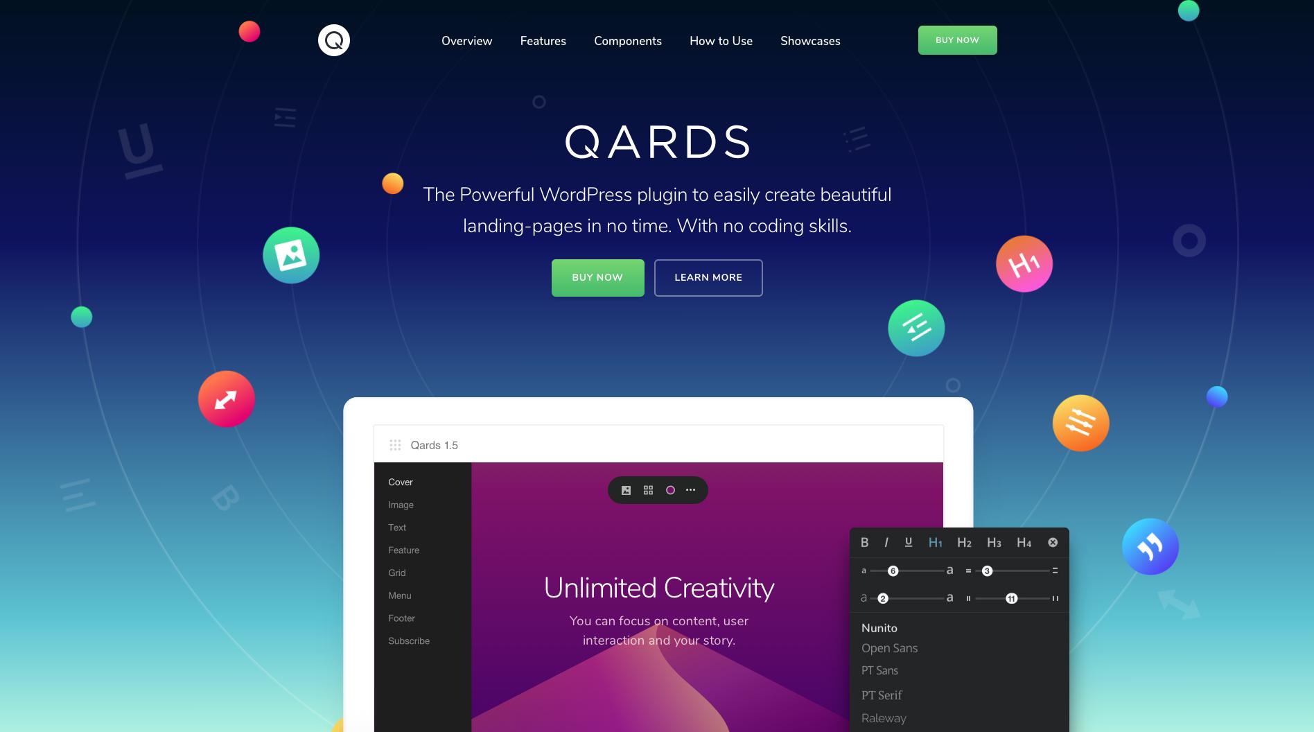 UI Design Trends: QARDS Gradient Homepage