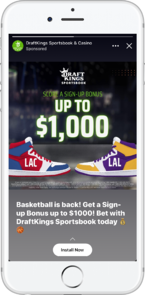 eCommerce Advertising: Facebook Story Ad From DraftKings