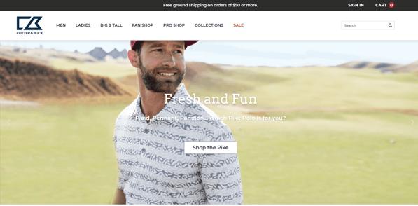 eCommerce Design Principles: Cutter & Buck's Simple Navigation