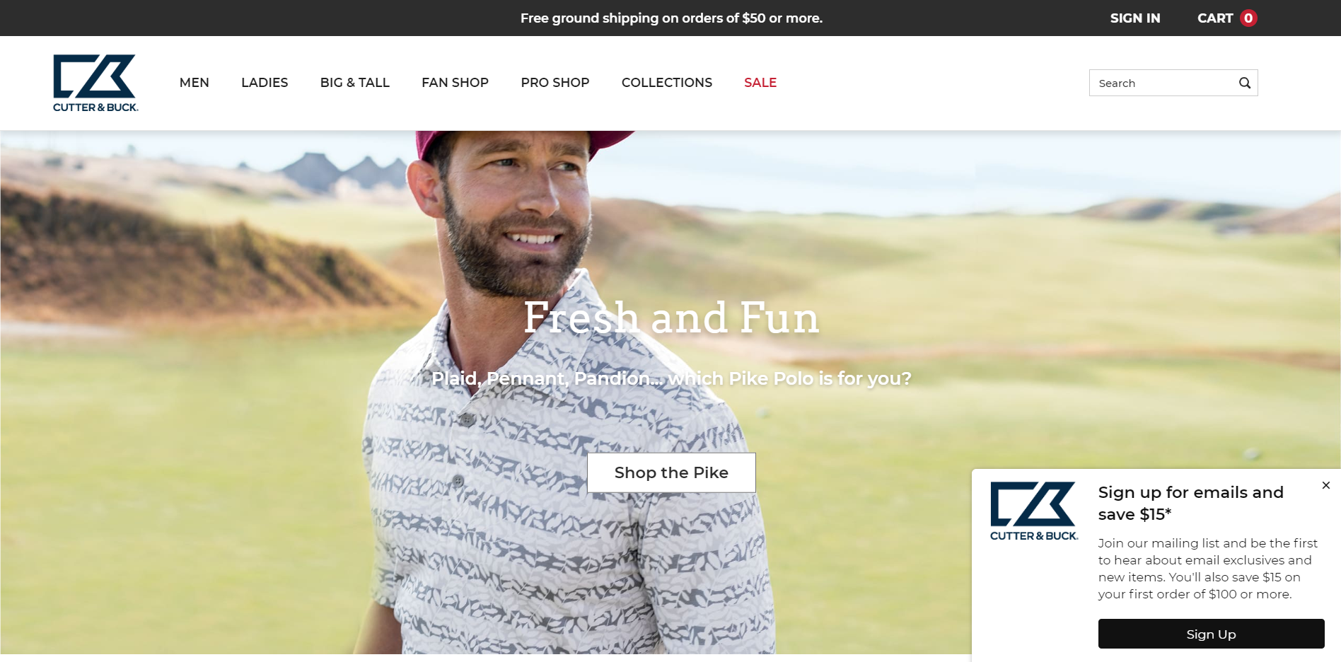 eCommerce Home Page Best Practices: Cutter & Buck Unique Value Proposition