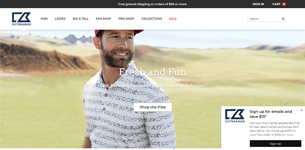 eCommerce Homepage Best Practices: Cutter & Buck