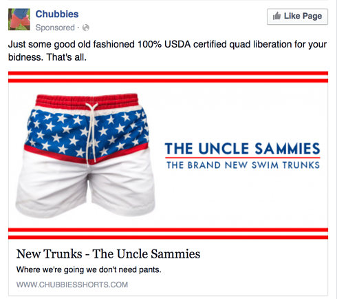 eCommerce Landing Page Design Best Practices - Chubbies Facebook Ad