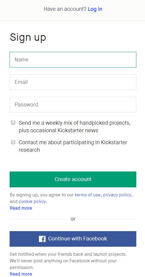 eCommerce Landing Page Design Best Practices - Kickstarter's Minimal Sign Up Form
