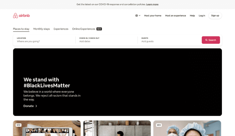 eCommerce Site Designs: Airbnb Home Page