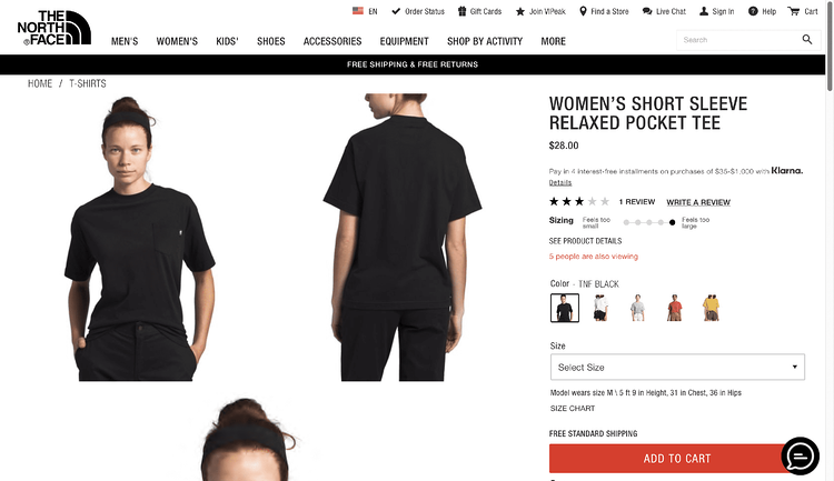 eCommerce Site Designs: North Face Product Page