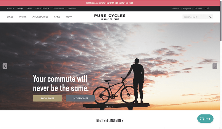 eCommerce Site Designs: Pure Cycle's Home Page