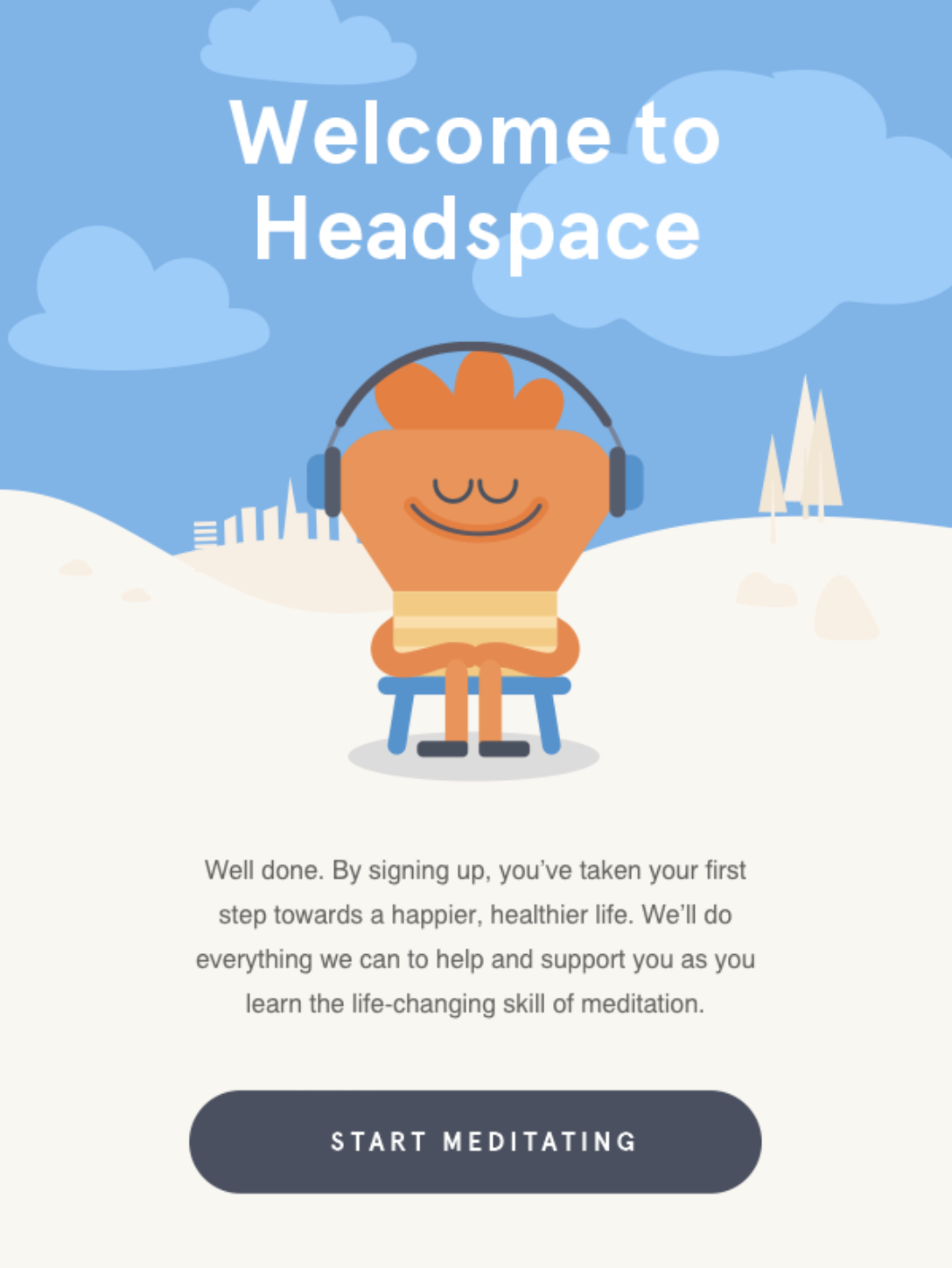 eCommerce Automation Welcome Series Example from Headspace