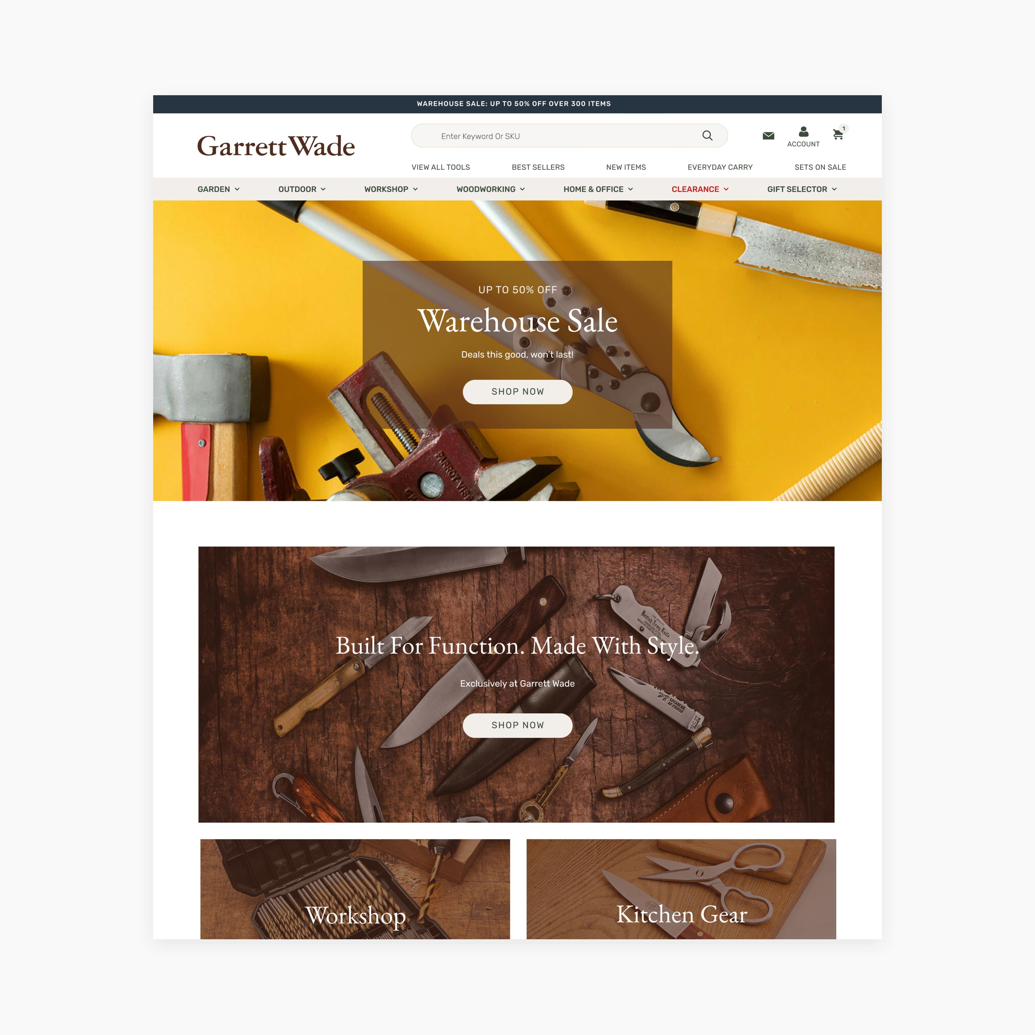 Garrett Wade's Homepage on BigCommerce
