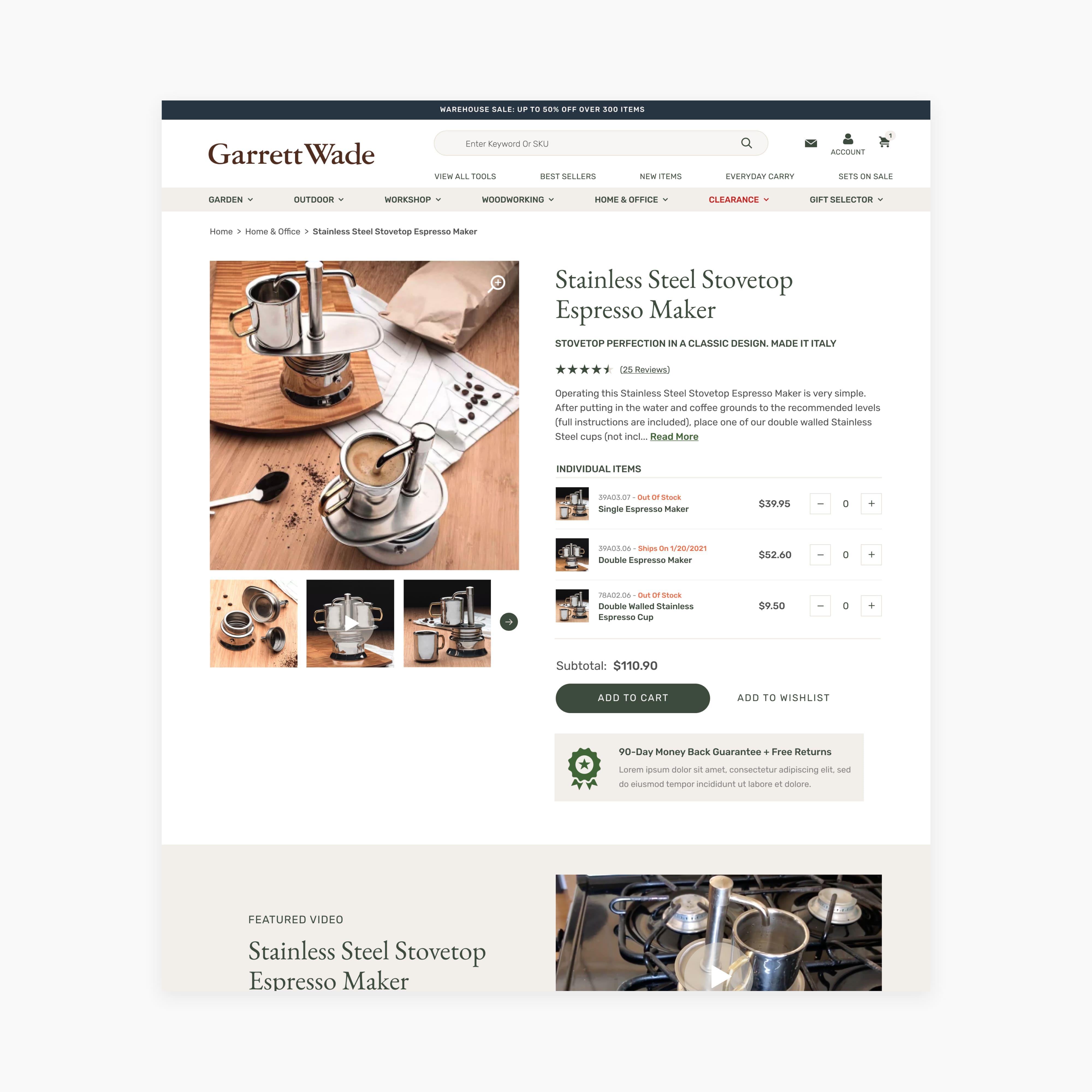 Garrett Wade: Product Detail Page Using BigCommerce