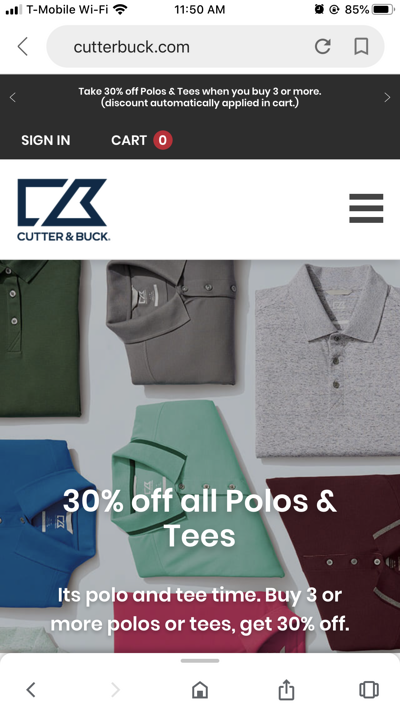 Mobile eCommerce Examples: Cutter & Buck Home Page