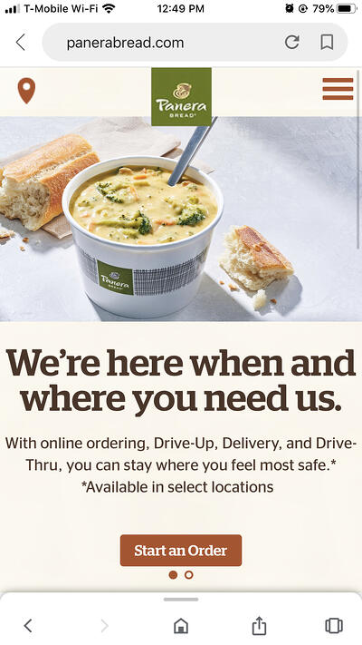 Mobile eCommerce Examples: Panera Bread Home Page
