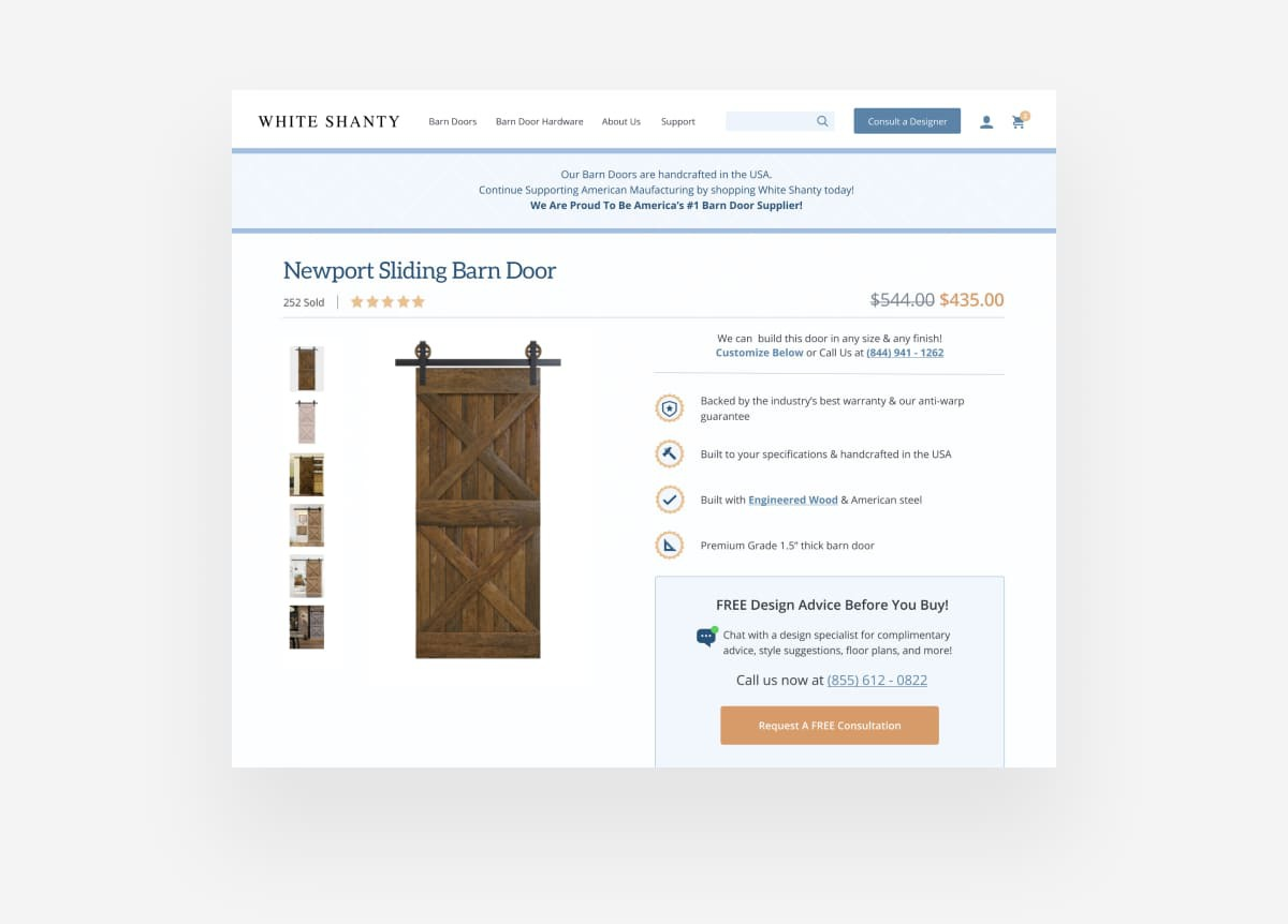 White Shanty Product Detail Page